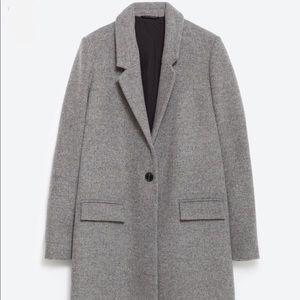 ZARA Masculine Grey Wool Coat Jacket Blazer